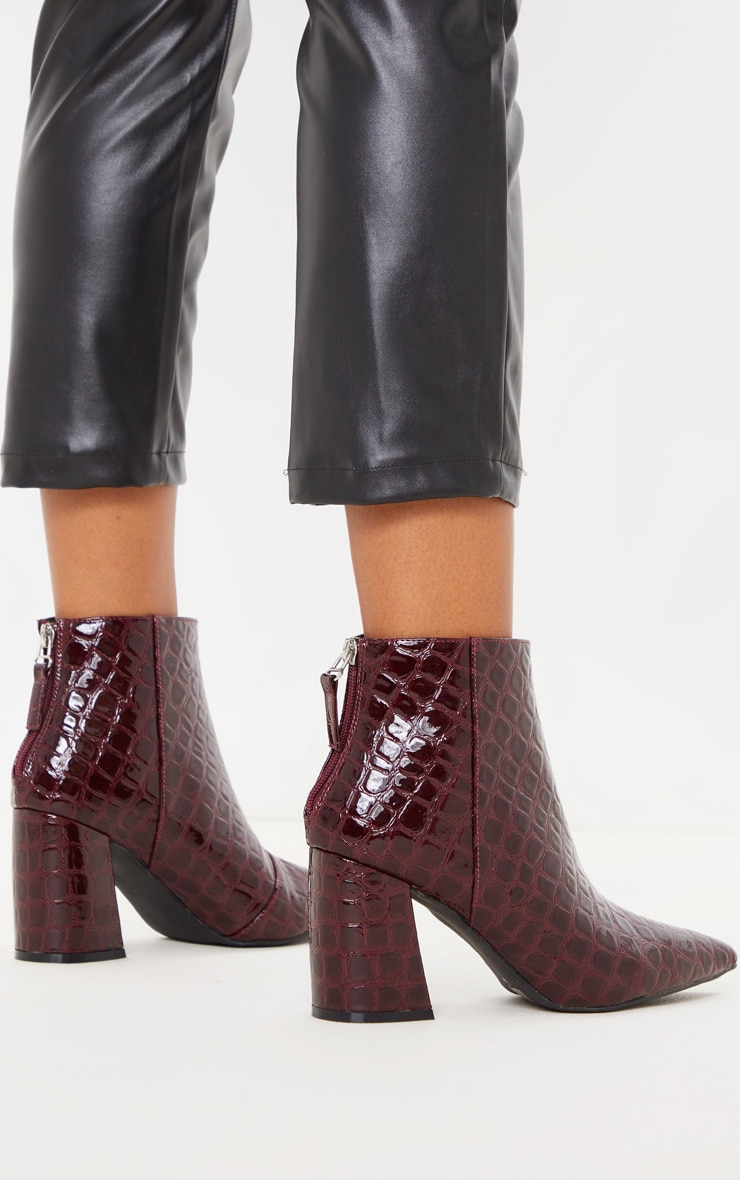 Dark Red Croc Curved Block Heel Ankle Boot 2