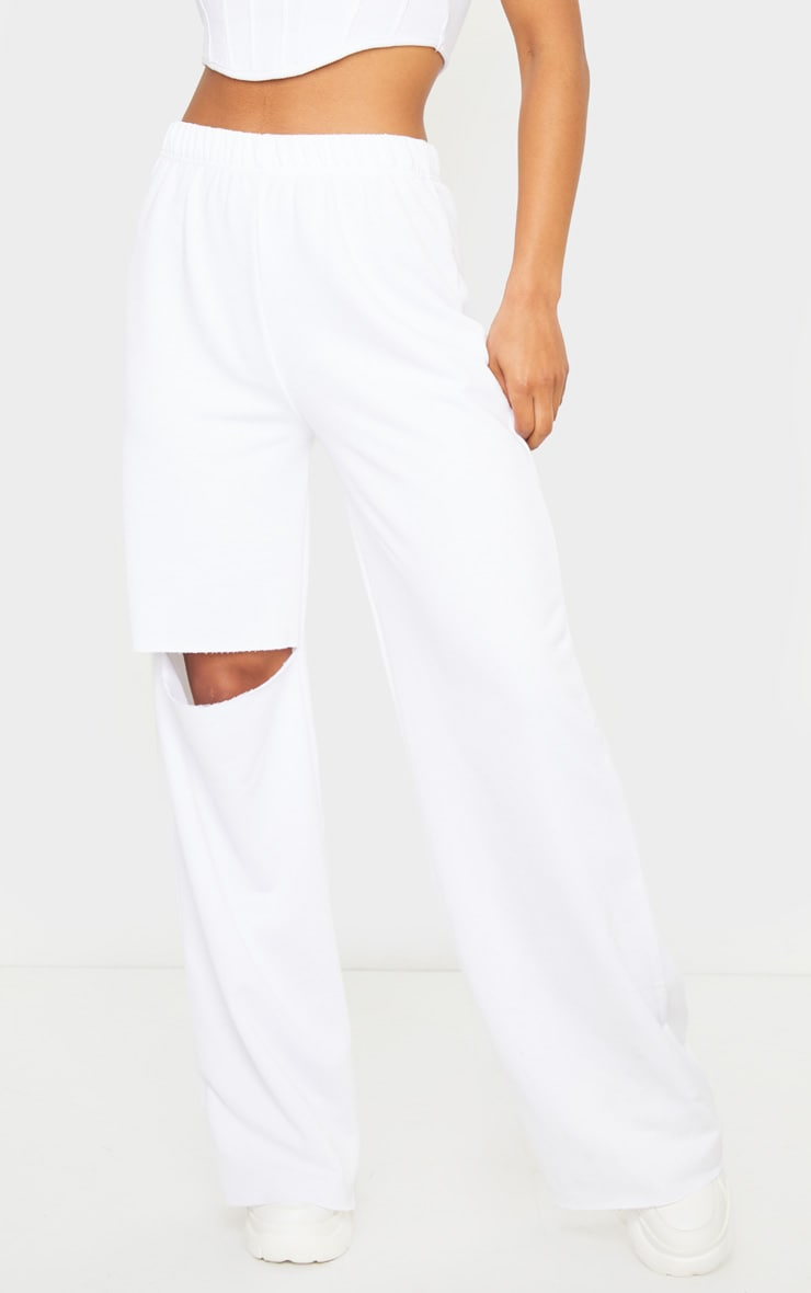 White Ripped Knee Wide Leg Joggers 2