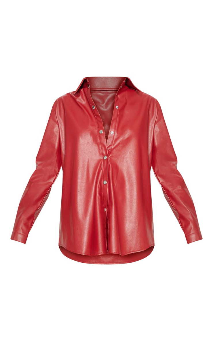 Red Faux Leather Oversized Shirt 4