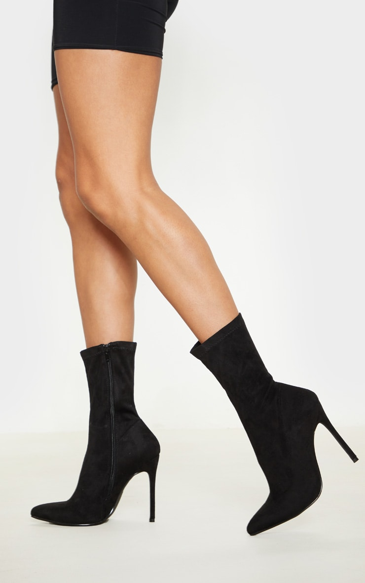 Black Faux Suede Heel Sock Boot 1