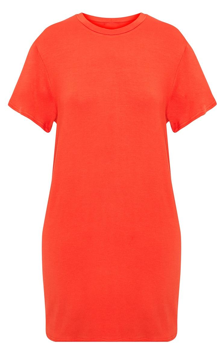 Basic Orange Short Sleeve T Shirt Dress 3