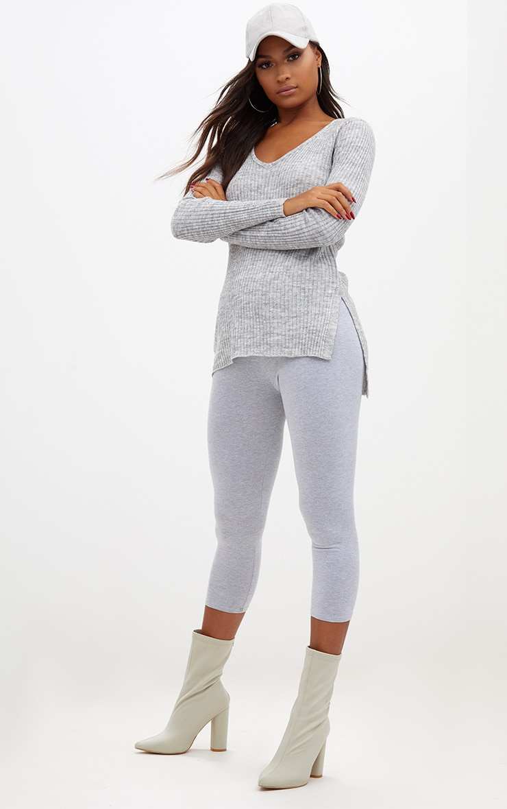 Grey Rib V Neck Jumper 4