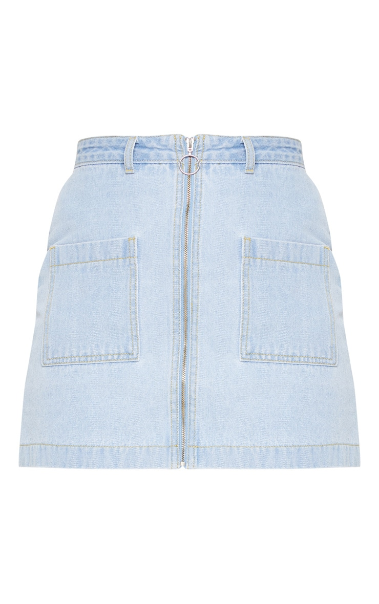 Light Wash Front Zip Denim Skirt  3