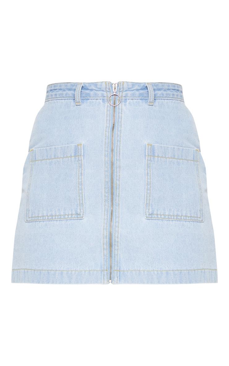 Light Wash Front Zip Denim Skirt 3