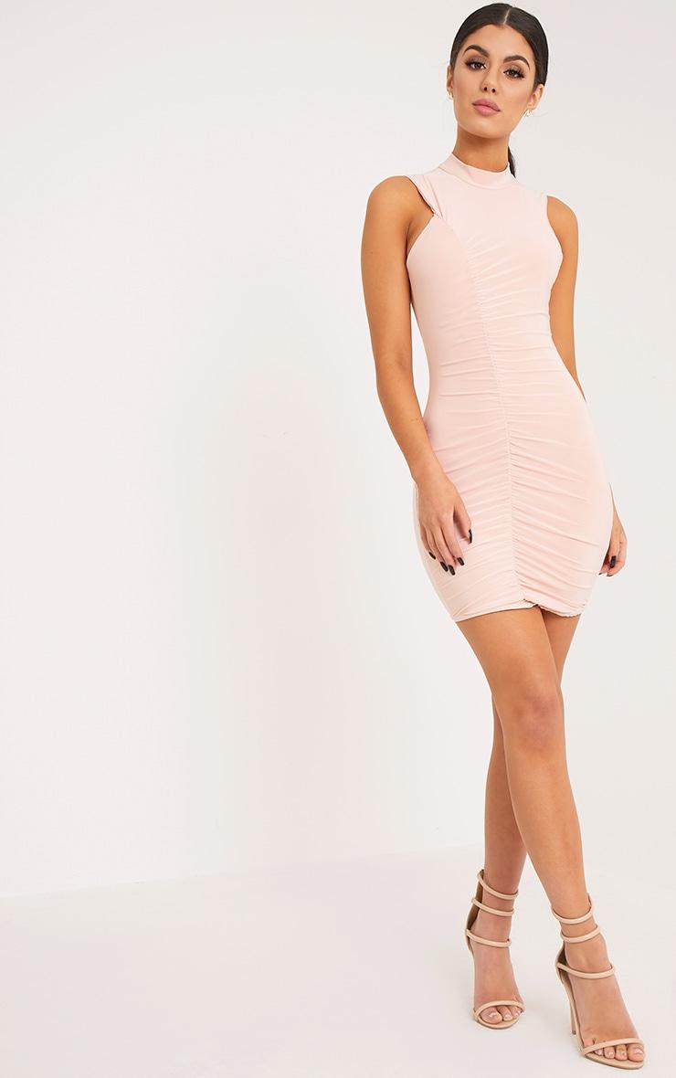 Glendah Nude Ruched Side Sleeveless Bodycon Dress 4