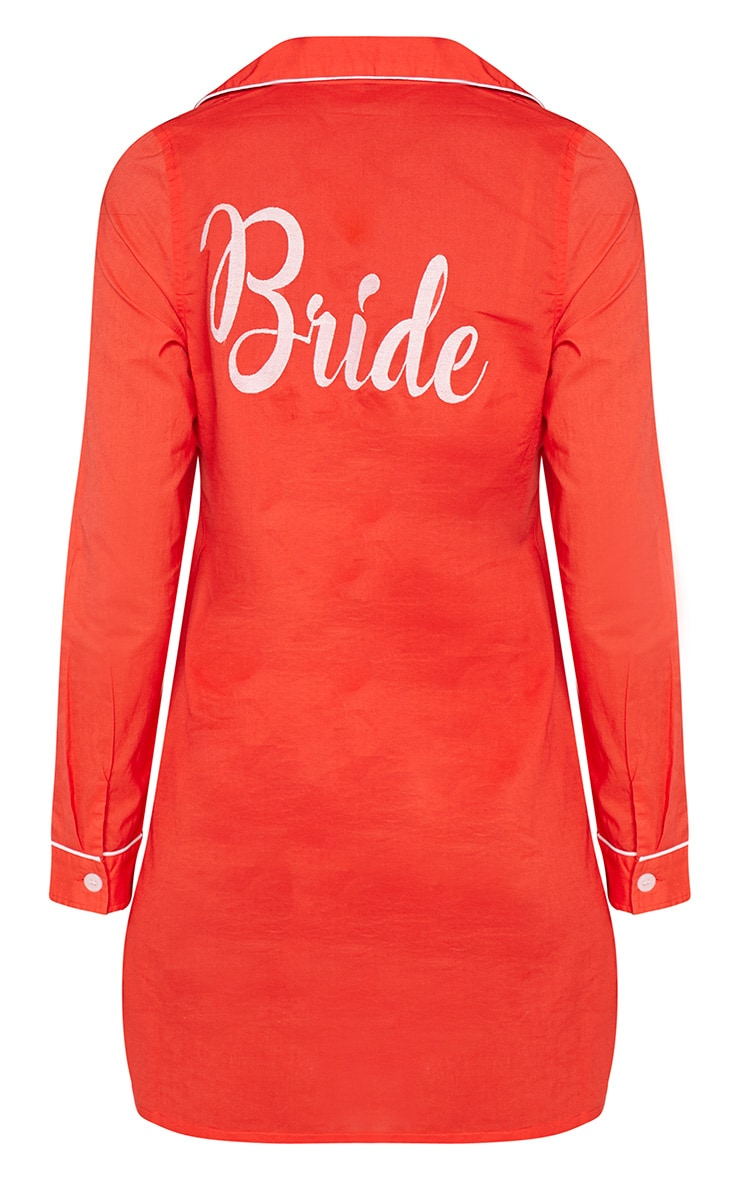 Red Bride Embroidered Back Piping Detail Nightshirt 4