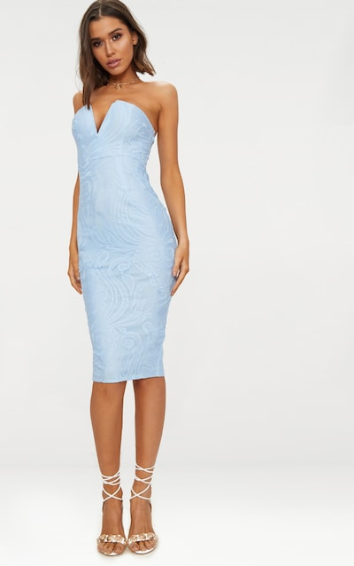 Dusty Blue Lace V Bar Bandeau Midi Dress