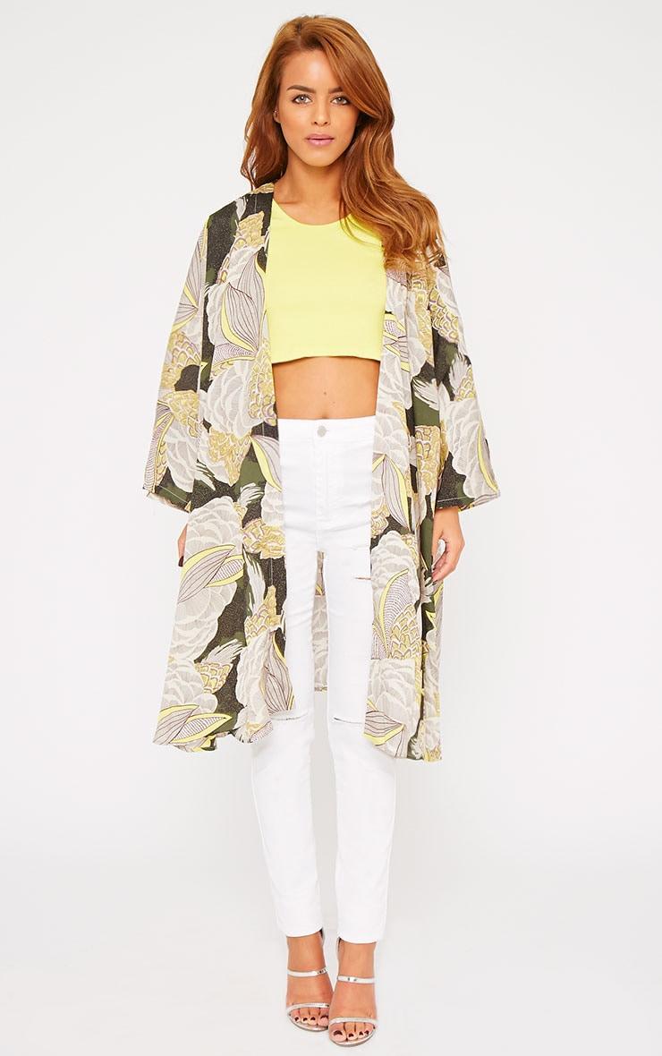 Mallory Green Leaf Tropical Print Kimono  1