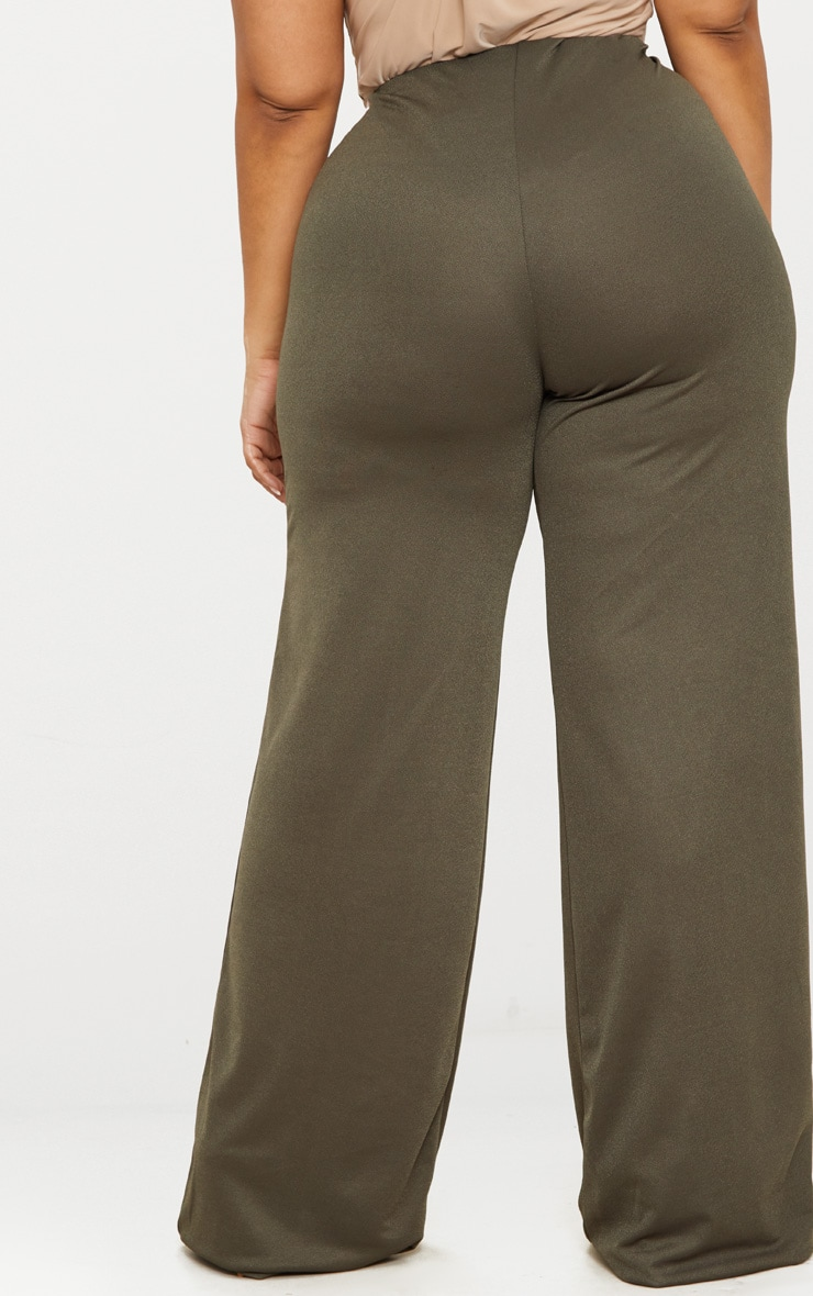Plus Khaki High Waisted Wide Leg Pants 4