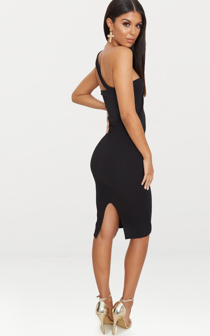 Black Asymmetric Strap Midi Dress 2
