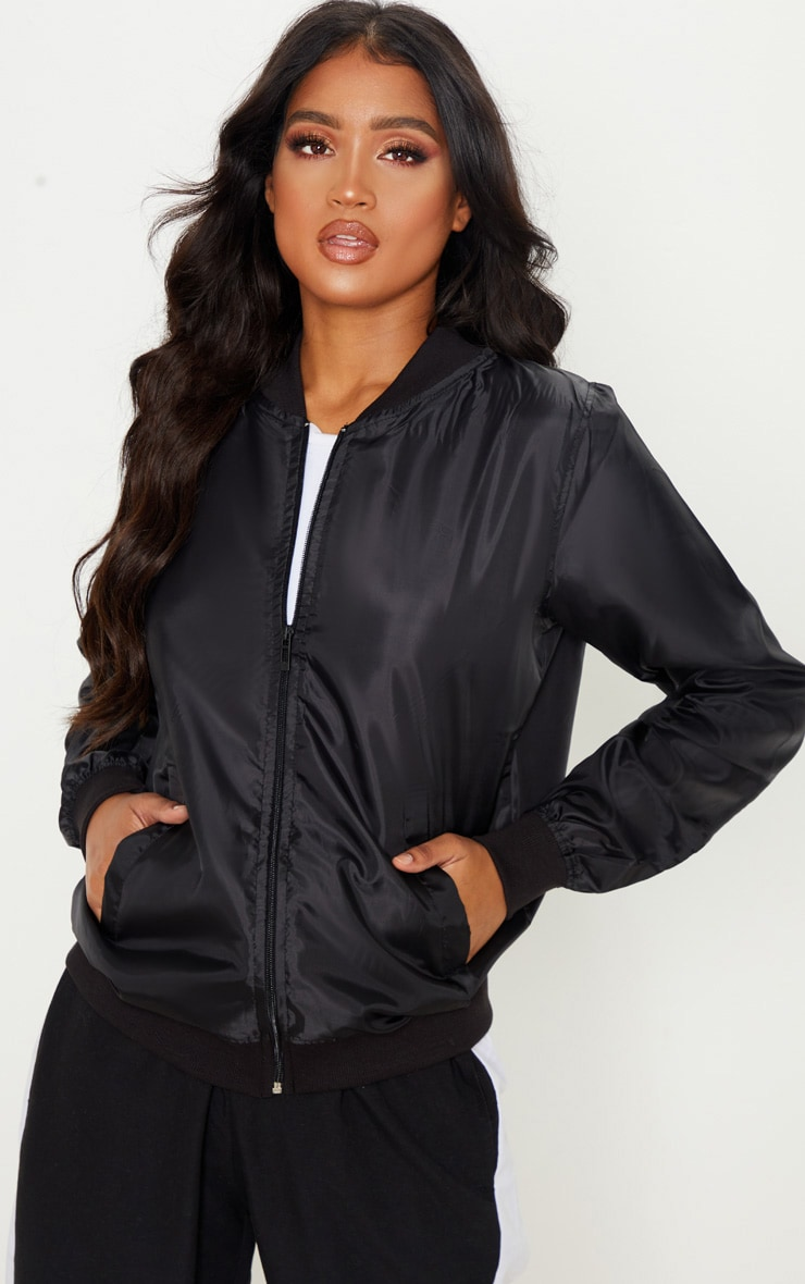 Black Lightweight Bomber Jacket 1