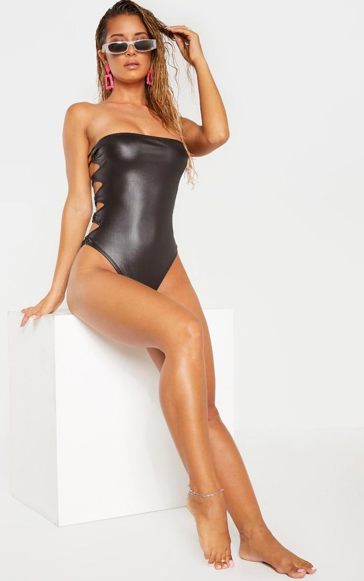 Black Wet Look Lace Up Beach Swimsuit 1