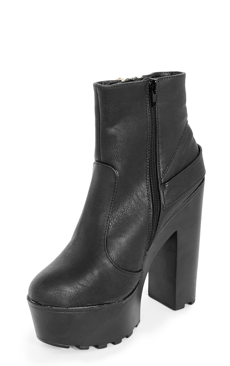 Sani Black Zip Up Cleated Sole Biker Boot 4