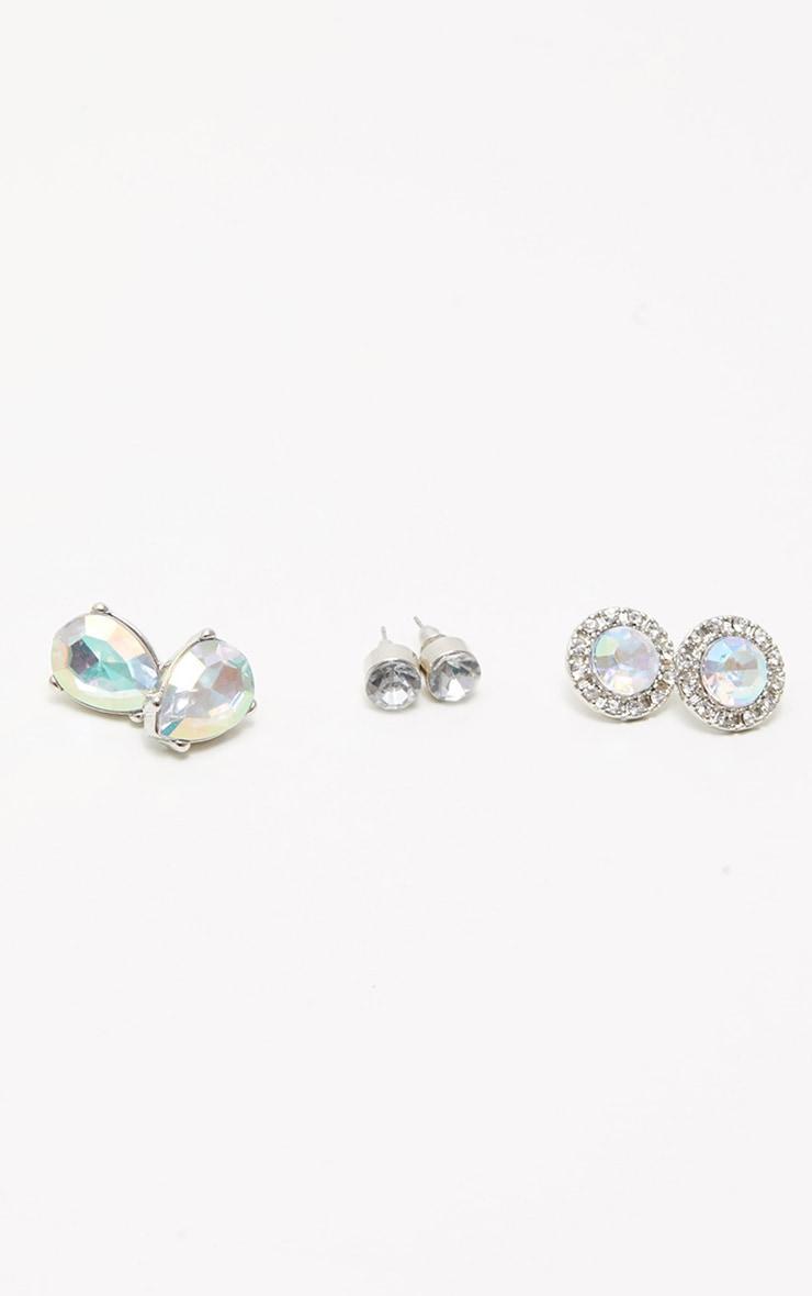 Silver iridescent Gem Stud Earring Set 1