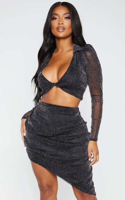 Shape Black Metallic Sheer Ruched Bodycon Skirt