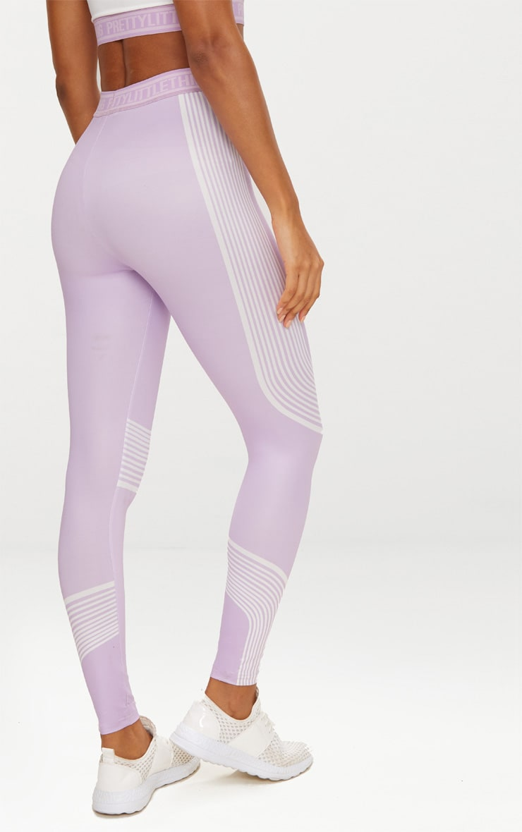 PRETTYLITTLETHING Lilac Contour Stripe Leggings 4