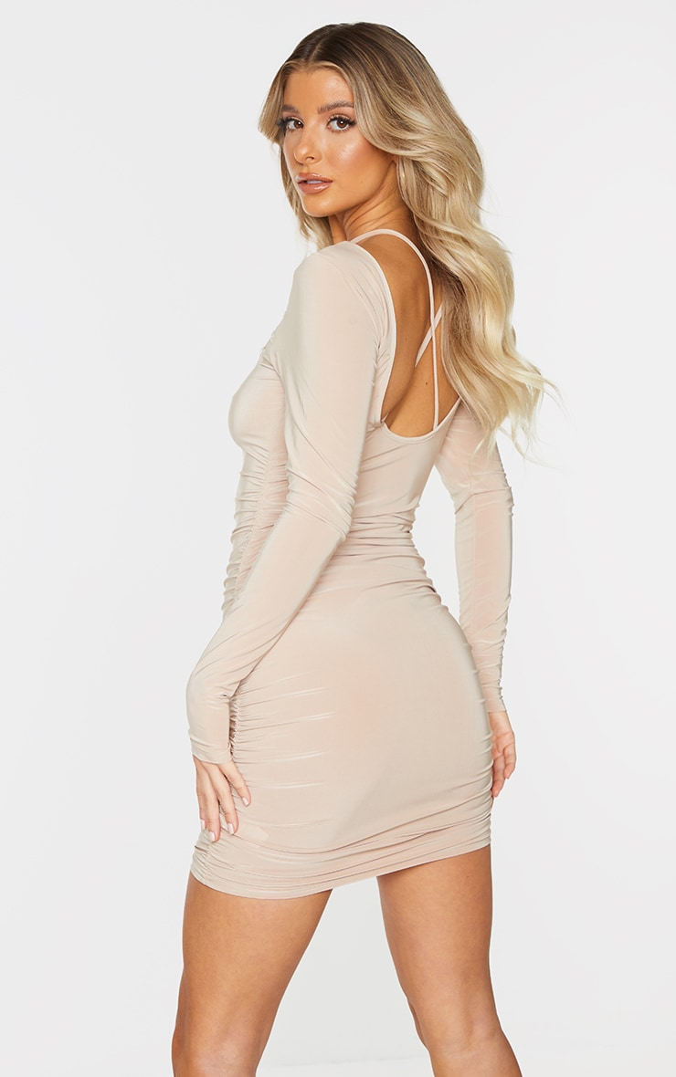 Stone Slinky Chest Cut Out Detail Long Sleeve Bodycon Dress 2