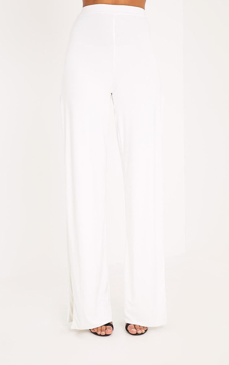 Darsee Cream Side Split Slinky Pants 2