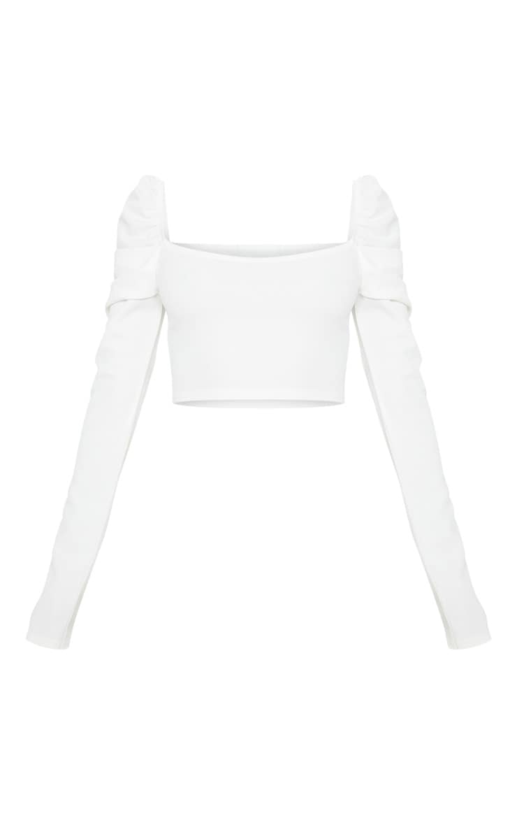 Petite White Puff Sleeve Crop Top 4