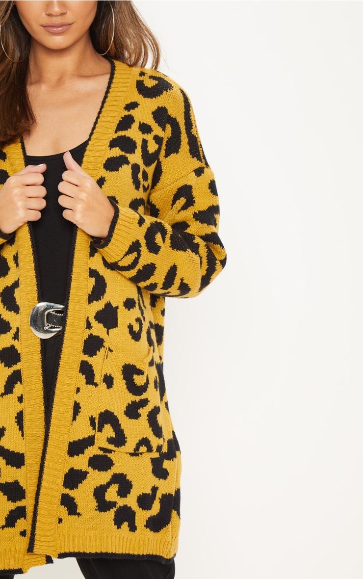 Mustard Knitted Leopard Print Longline Cardigan 5