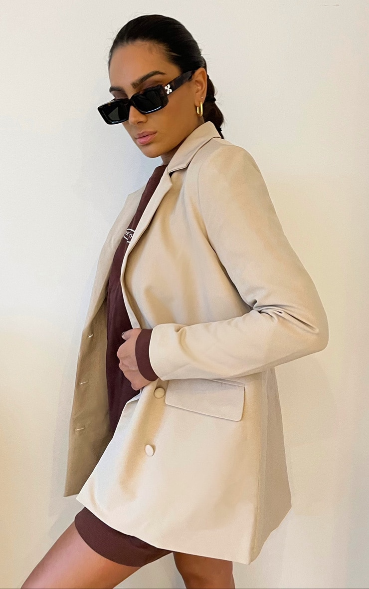 Stone Oversized Double Breasted Covered Button Blazer 2