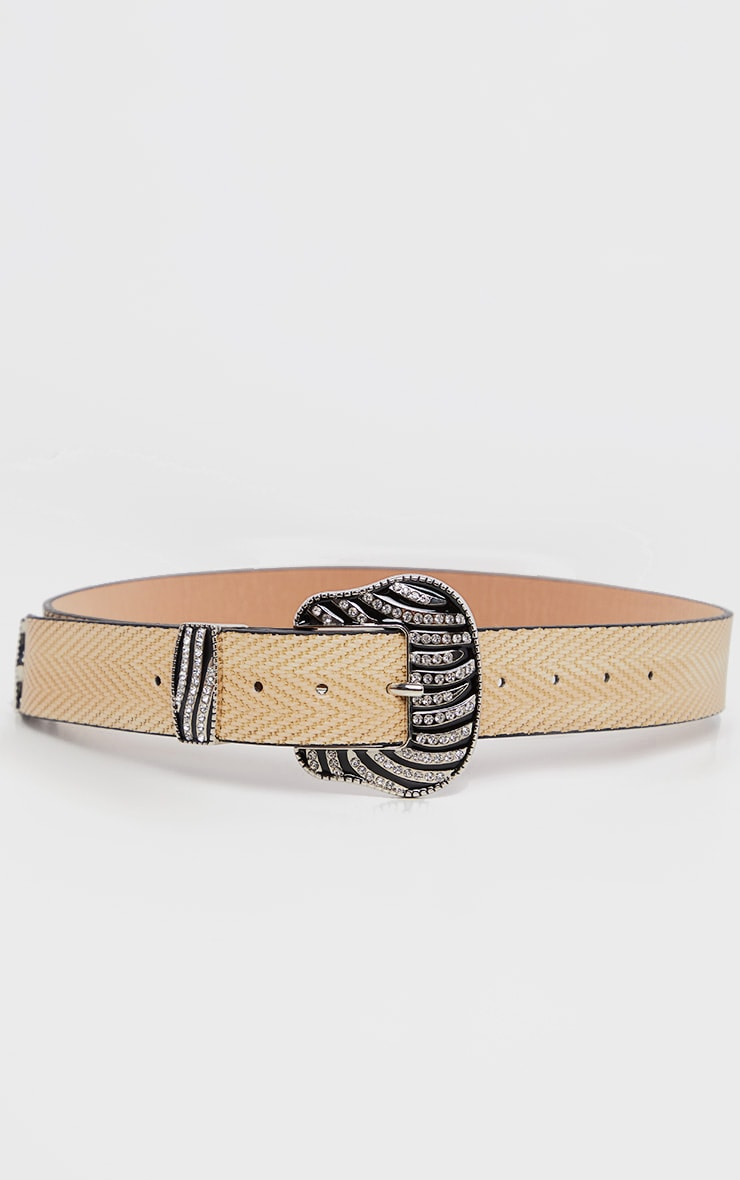 Natural Western Diamante Zebra Buckle Belt 1