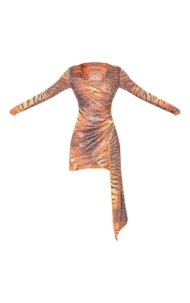 Orange Tiger Print Sequin Long Sleeve Drape Detail Bodycon Dress 3