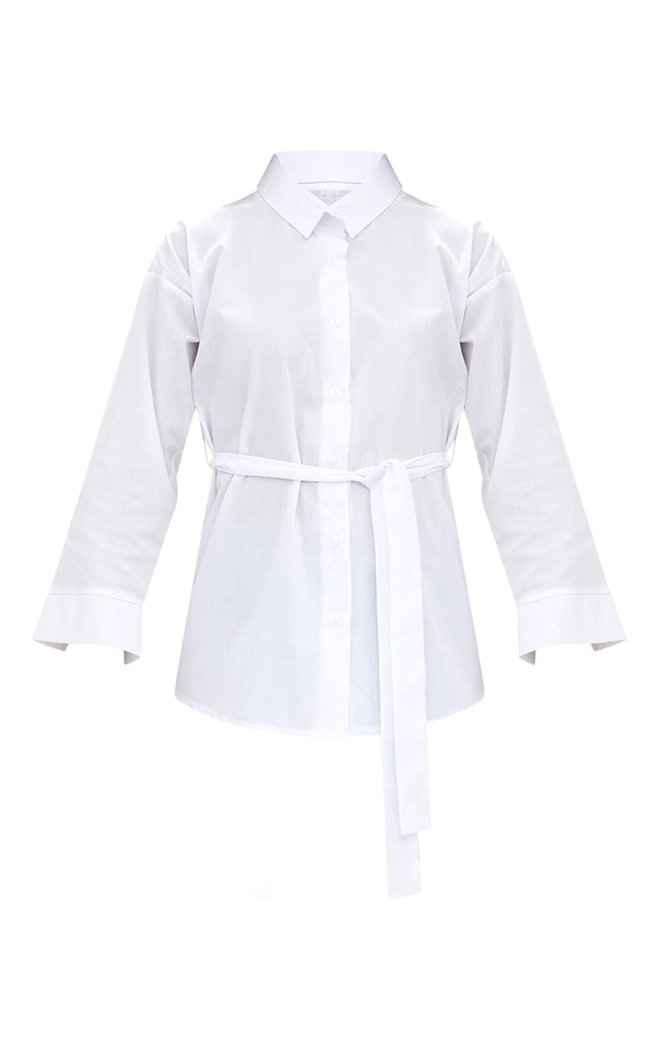 White Oversized Belted Shirt 3