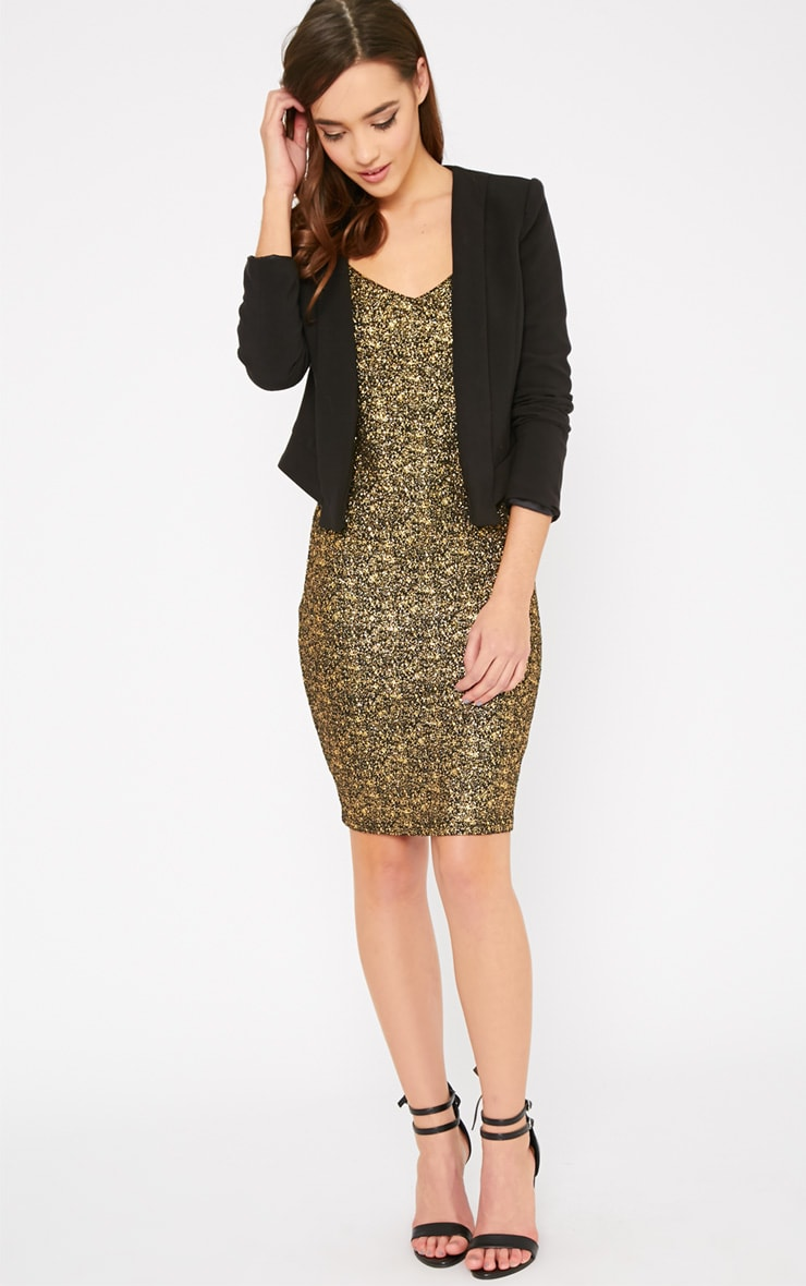 Hania Black Gold Flecked Mini Dress-XS 3