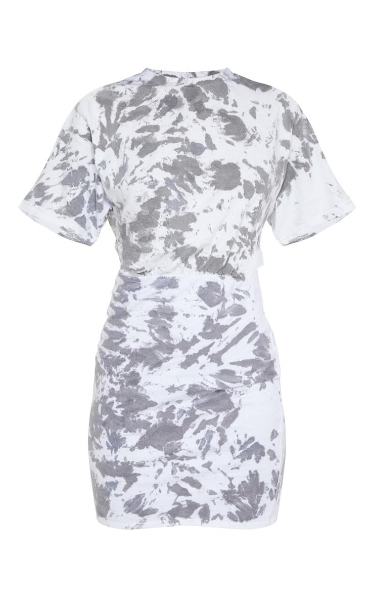 Charcoal Grey Tie Dye Elastic Waist T Shirt Dress 5