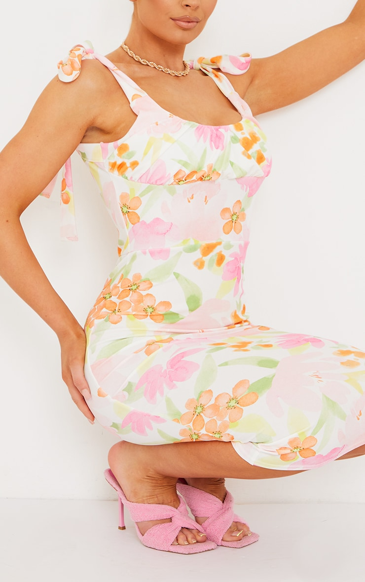 Multi Floral Print Ruched Bust Tie Strap Midi Dress 4