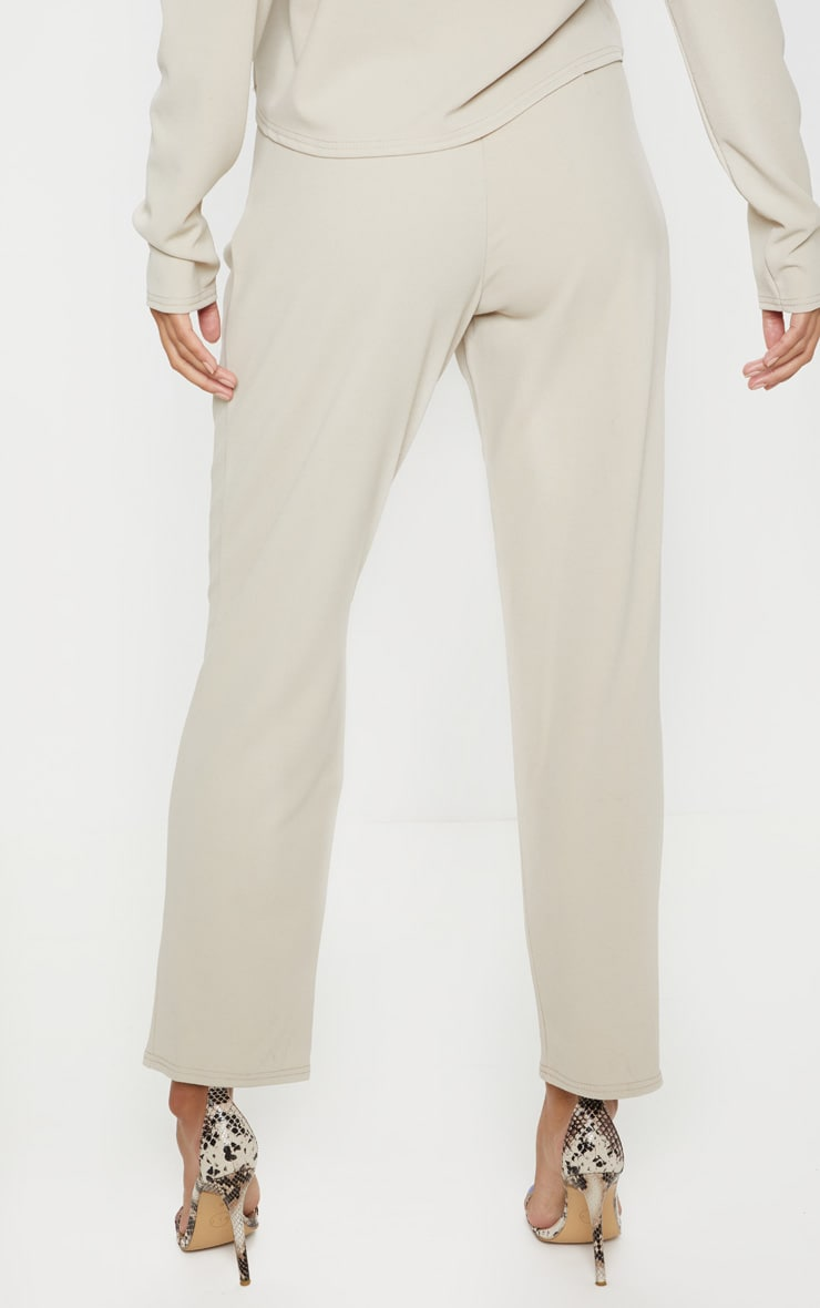 Stone High Waisted Pleat Detail Tapered Trouser 4