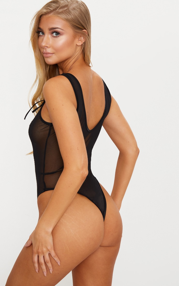 Black Lace Up Lace Middle Mesh Body 2
