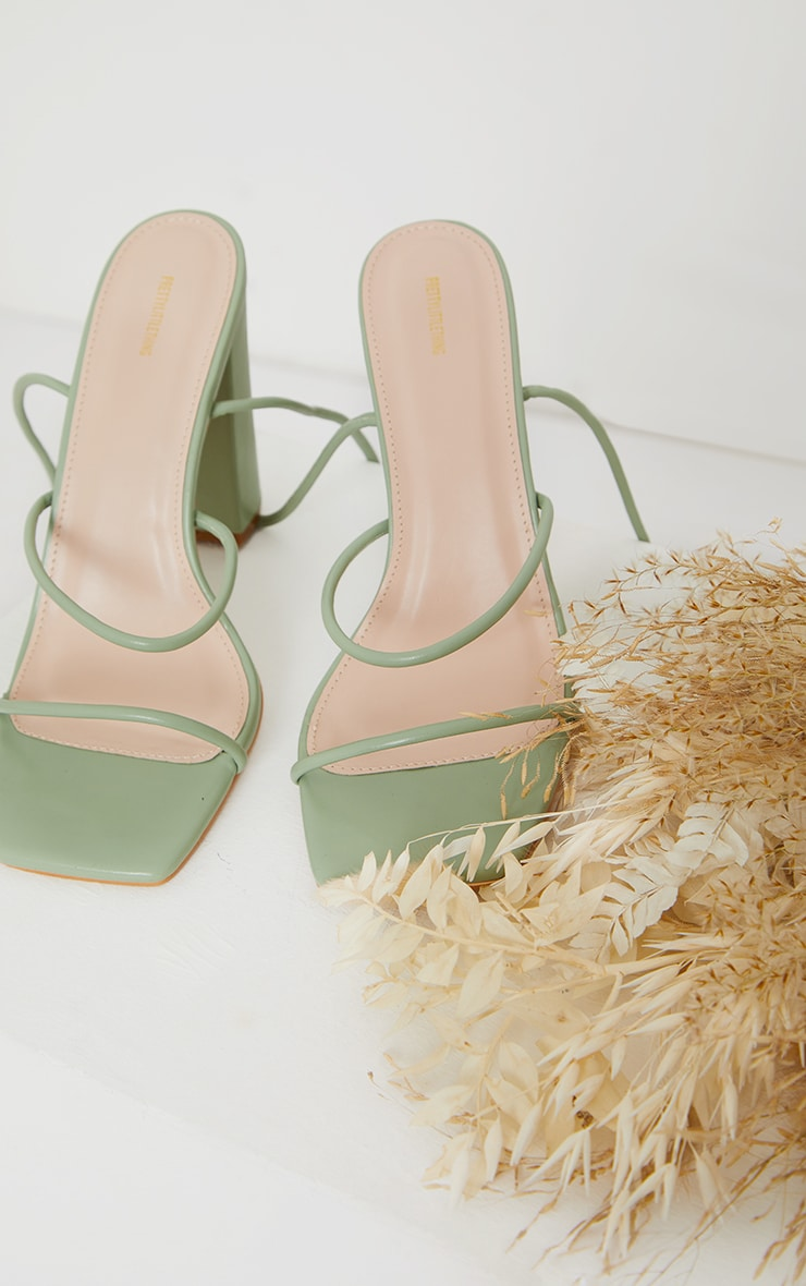 Sage Green Delicate Strap Block Heel Ankle Tie Sandal 3