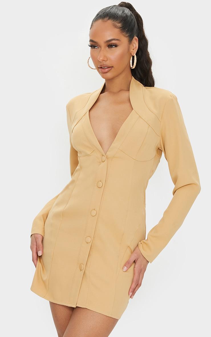Stone Woven Button Down Cup Detail Blazer Dress 1