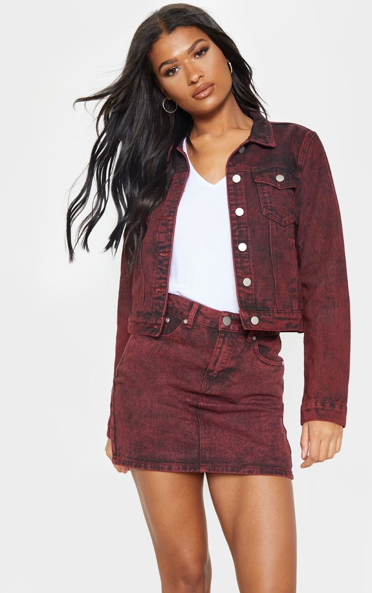 Acid Burgundy Denim Jacket  1