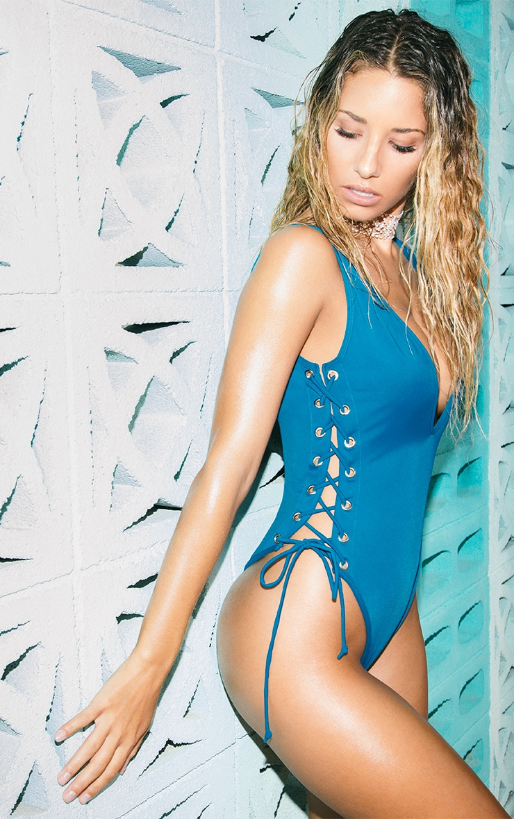 Clio Teal Tie Side Plunge Swimsuit  2