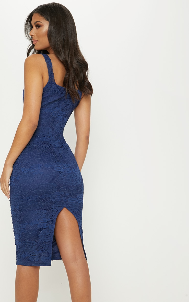 Navy Lace Cup Detail Midi Dress 2