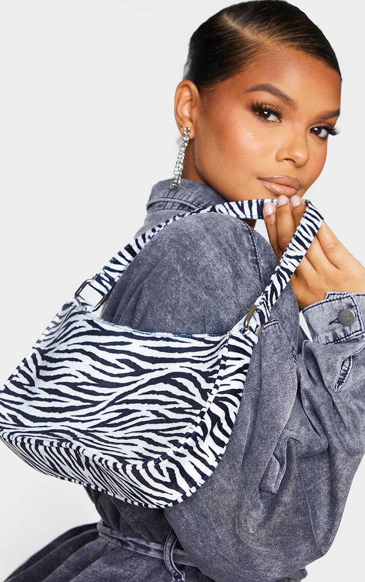 Monochrome Zebra Velvet Shoulder Bag 1