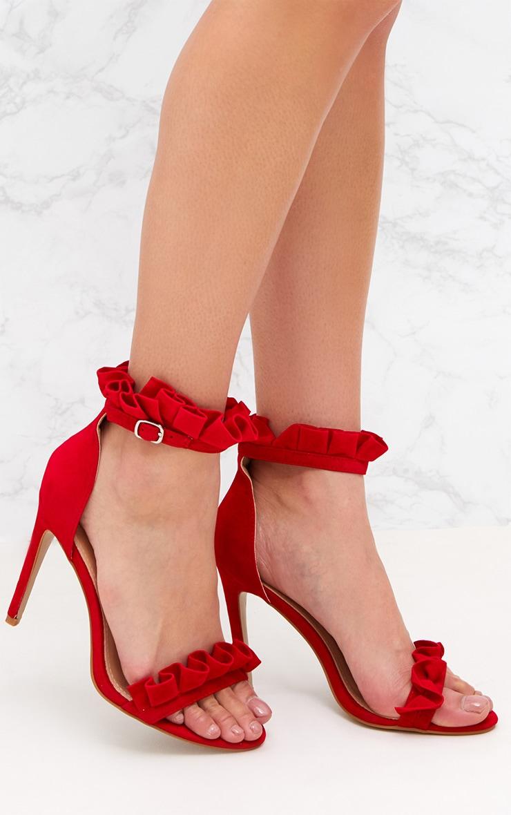Red Frill Strap Heels