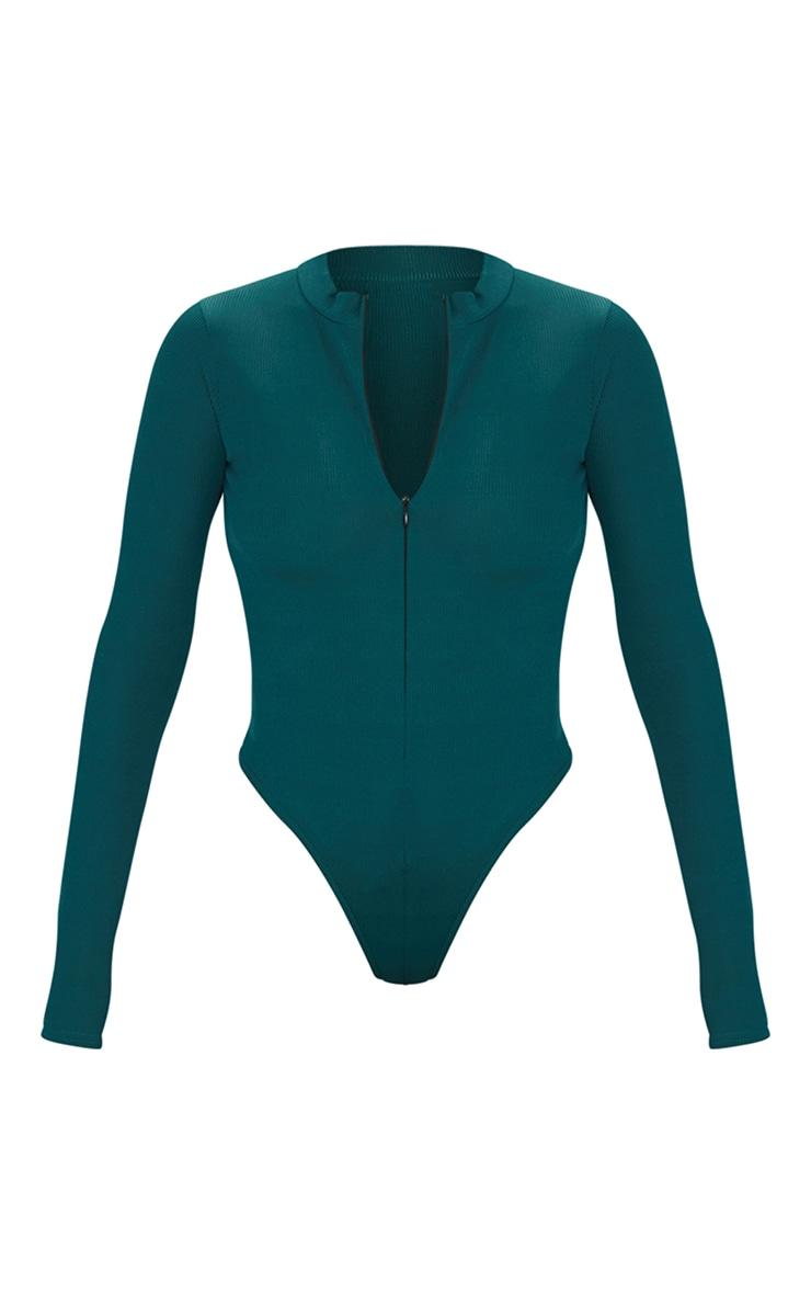 Bottle Green Rib Zip Up Long Sleeve Bodysuit 5