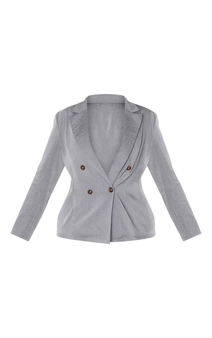 Plus Grey Woven Tortoise Buttoned Blazer 3