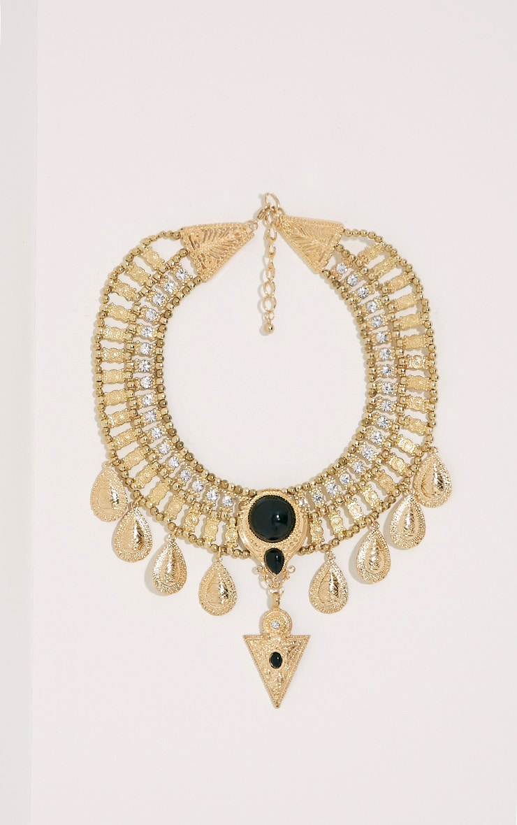 Rosina Gold Chunky Embellished Bib Necklace 1
