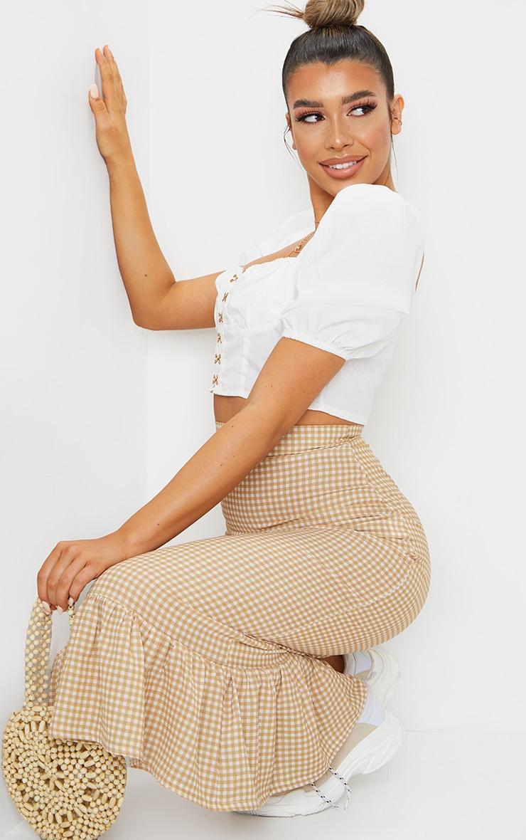 Stone Gingham Frill Hem Midaxi Skirt 4