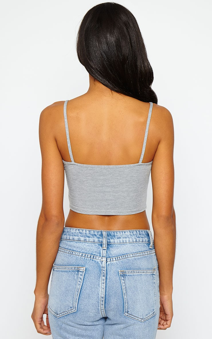 Basic Grey Jersey Strappy Crop Top 2