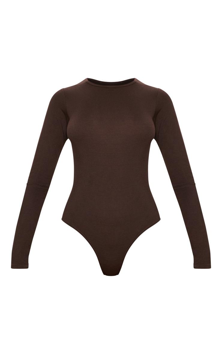 Basic Chocolate Crew Neck Long Sleeve Bodysuit 3