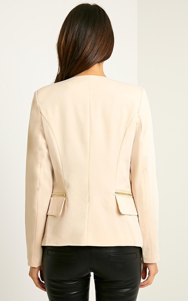 Carlina Beige Zip Pocket Blazer 2