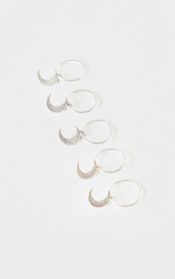 Silver Five Pack Moon Hair Rings 2