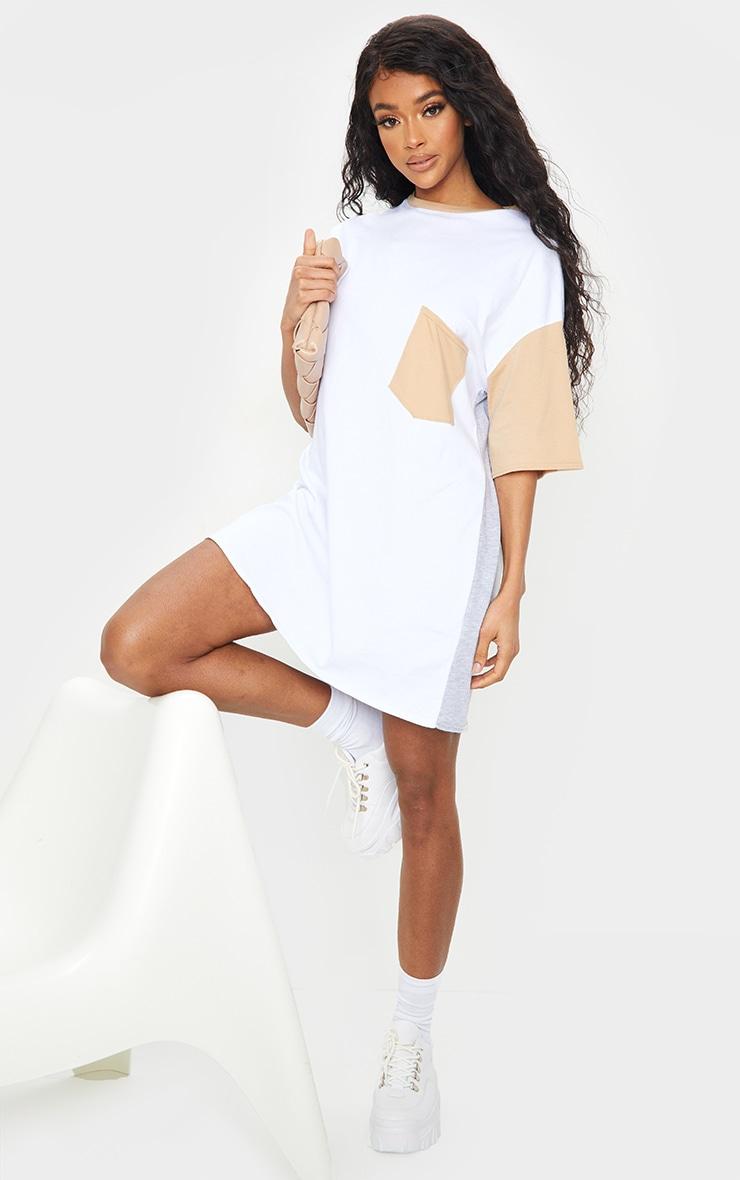 Multi Contrast Pocket Detail Oversized T Shirt Dress 1