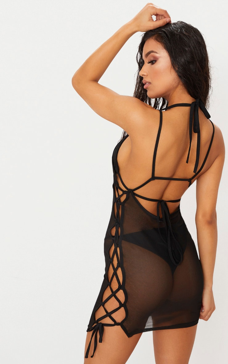Black Mesh Lace Up Side Beach Dress 1